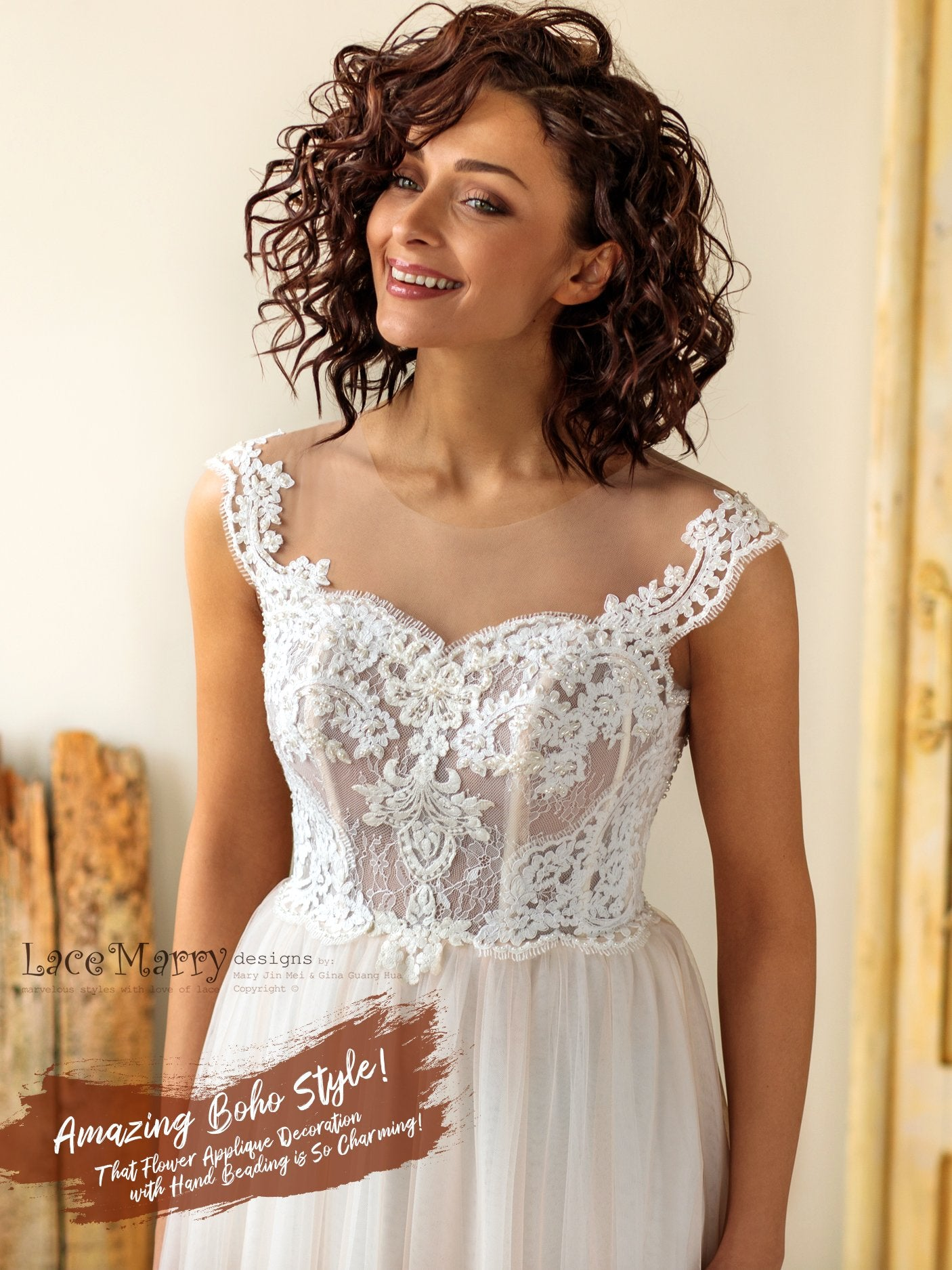 Charming Boho Wedding Dress with Pearl Beaded Illusion Neckline