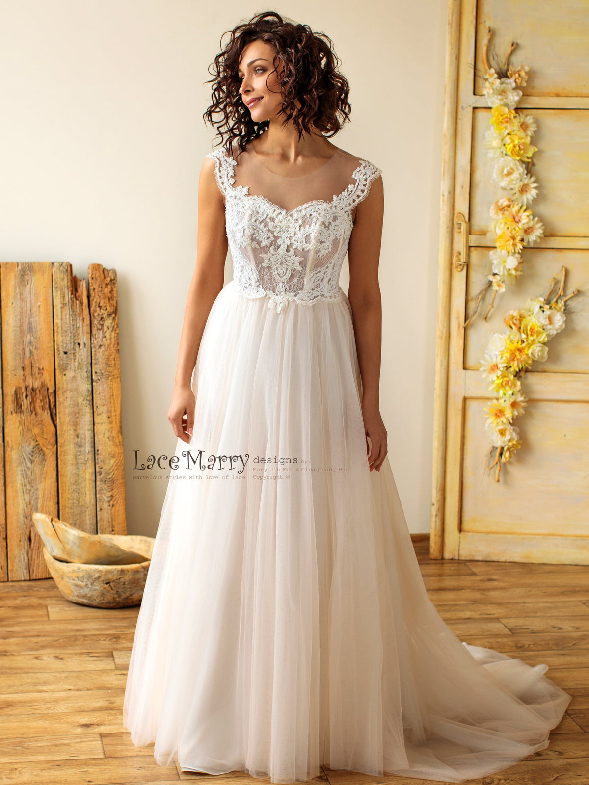 A Line Boho Wedding Dress with Light and Flowy Skirt