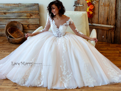 Princess Wedding Dress with Long Lace Sleeves