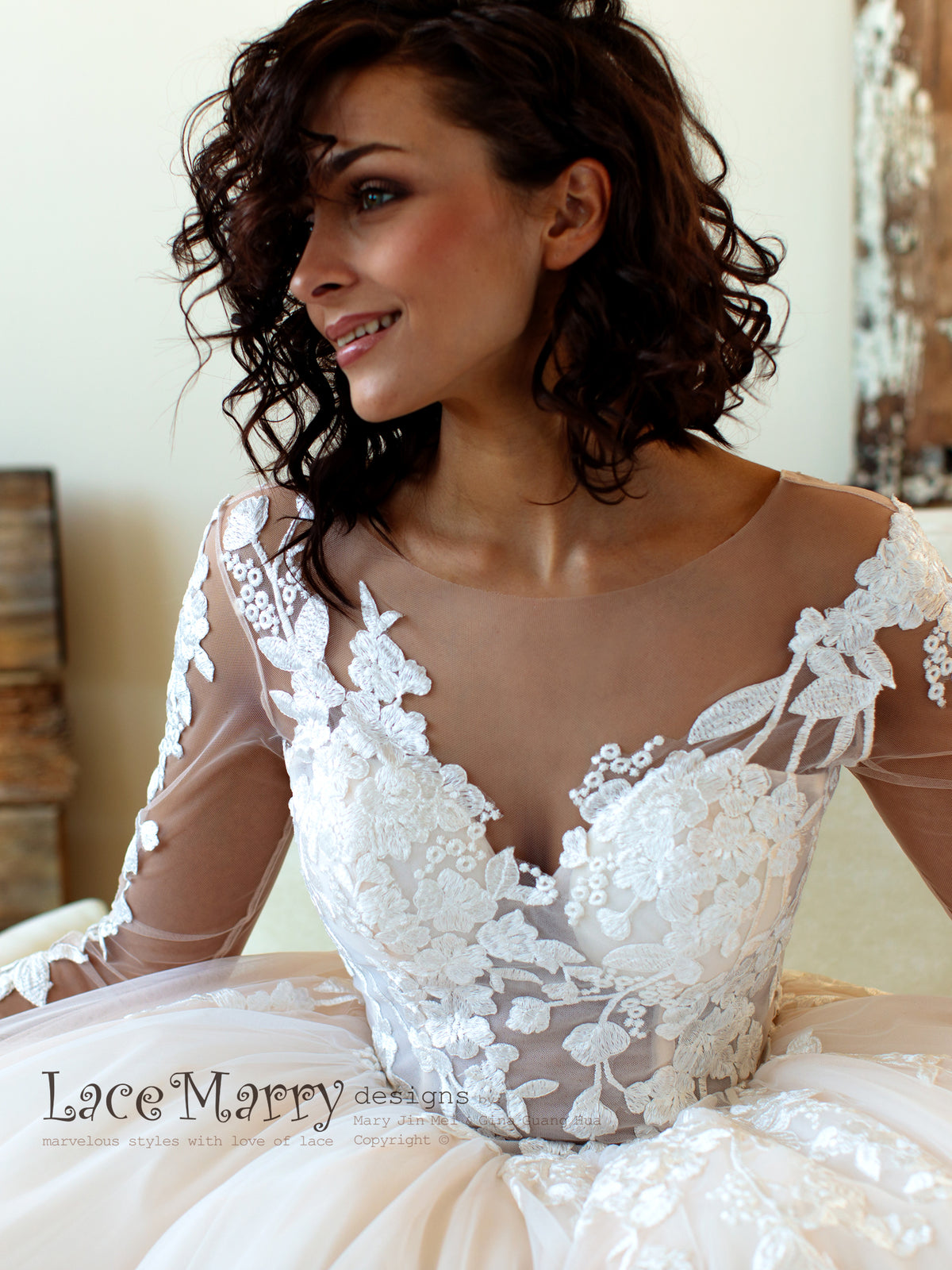 Long Lace Sleeves Wedding Dress with Illusion Neckline