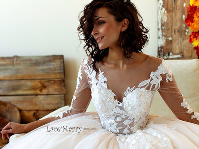 Long Lace Sleeves Wedding Dress