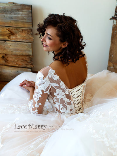 Princess Lace Wedding Dress with Sheer Long Sleeves