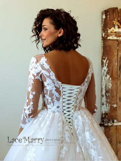 Lace up Back Wedding Dress