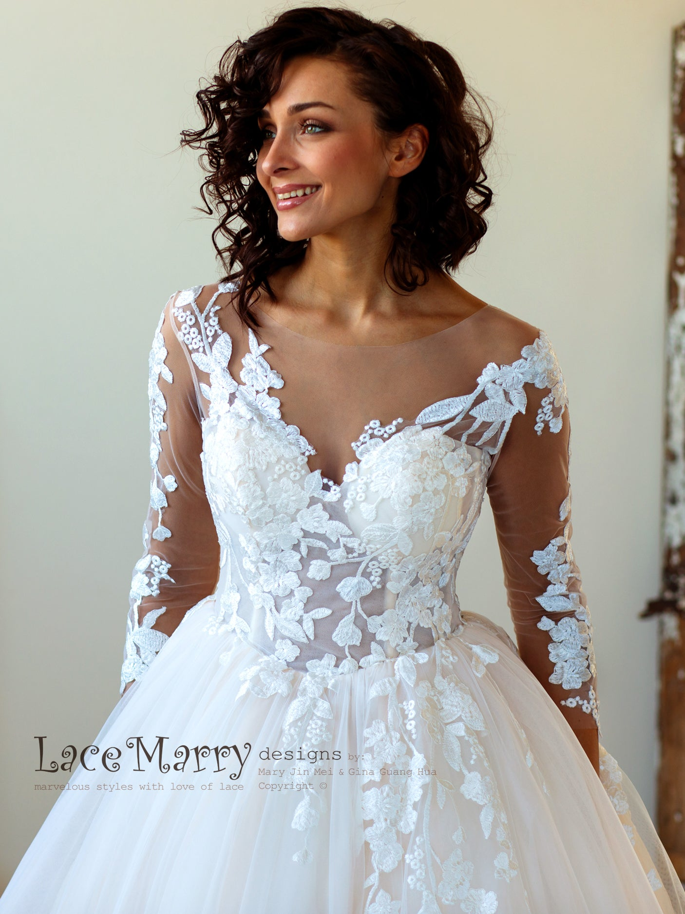 Champagne Boho Wedding Dress with Floral Lace Applique   LaceMarry