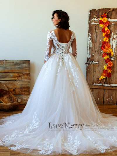 Cathedral Wedding Dress with Tulle Skirt