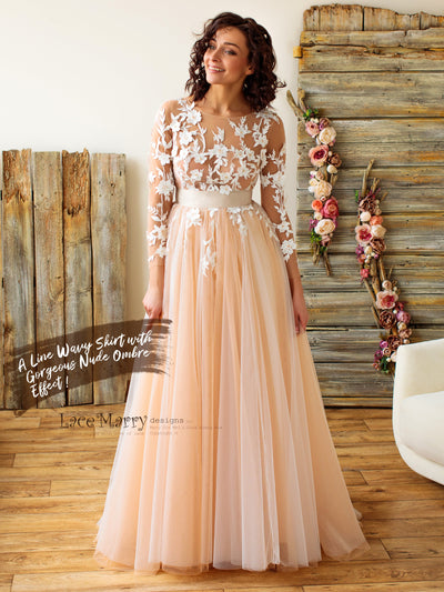 Long Lace Sleeves Wedding Dress with Ombre Skirt