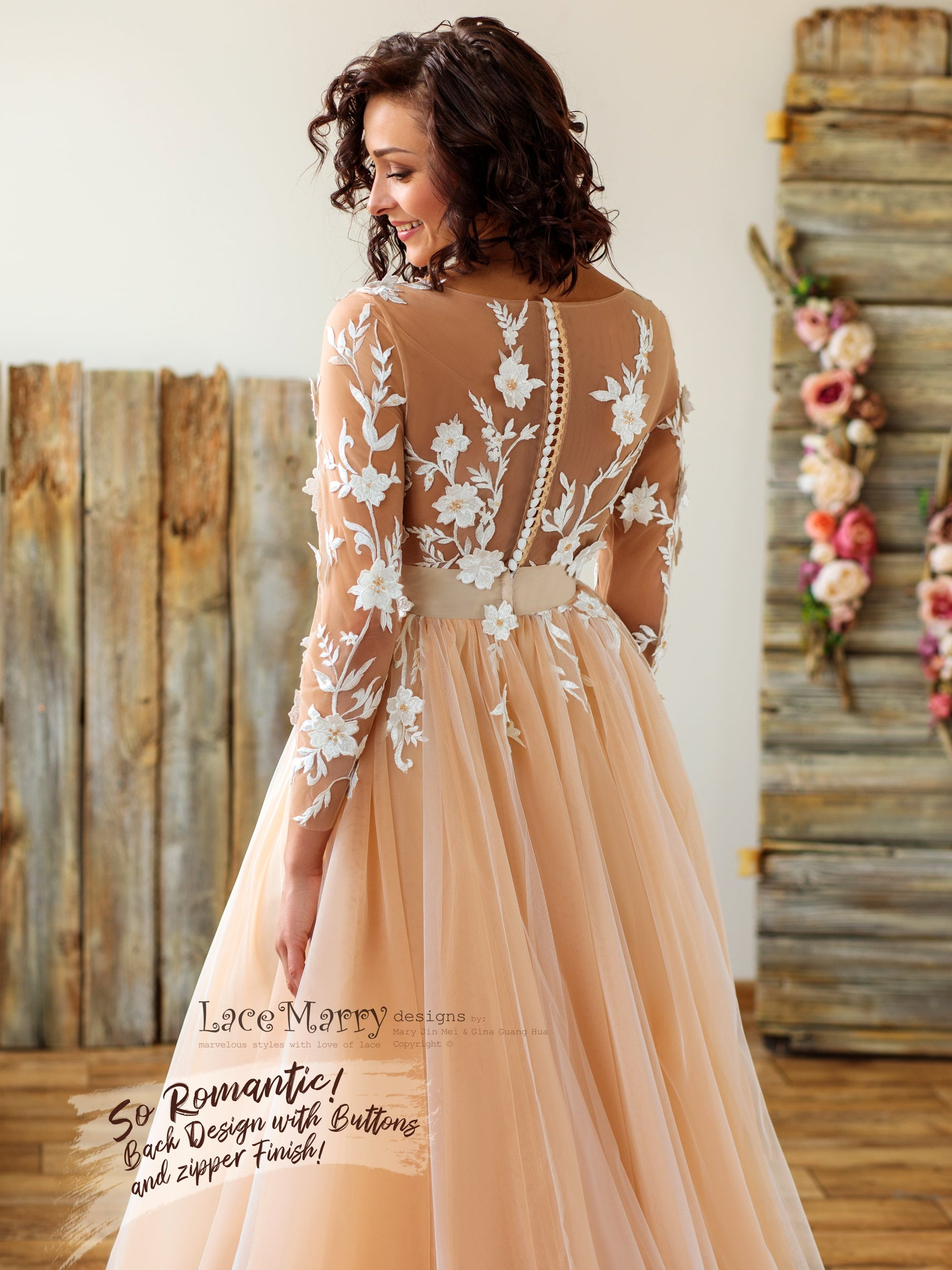 Sexy Boho Wedding Dress with Long Lace Sleeves