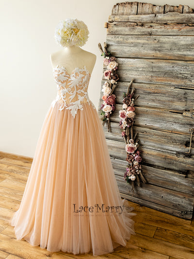 Strapless Blush Wedding Dress