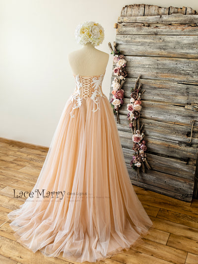 Lace up Back Blush Wedding Dress