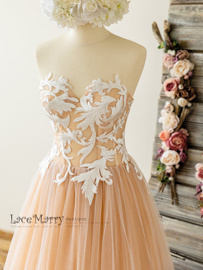 Swirl Lace Peach Wedding Dress