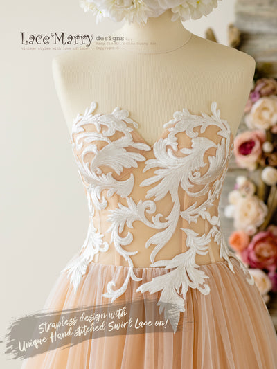 Sweetheart Strapless Lace Wedding Dress