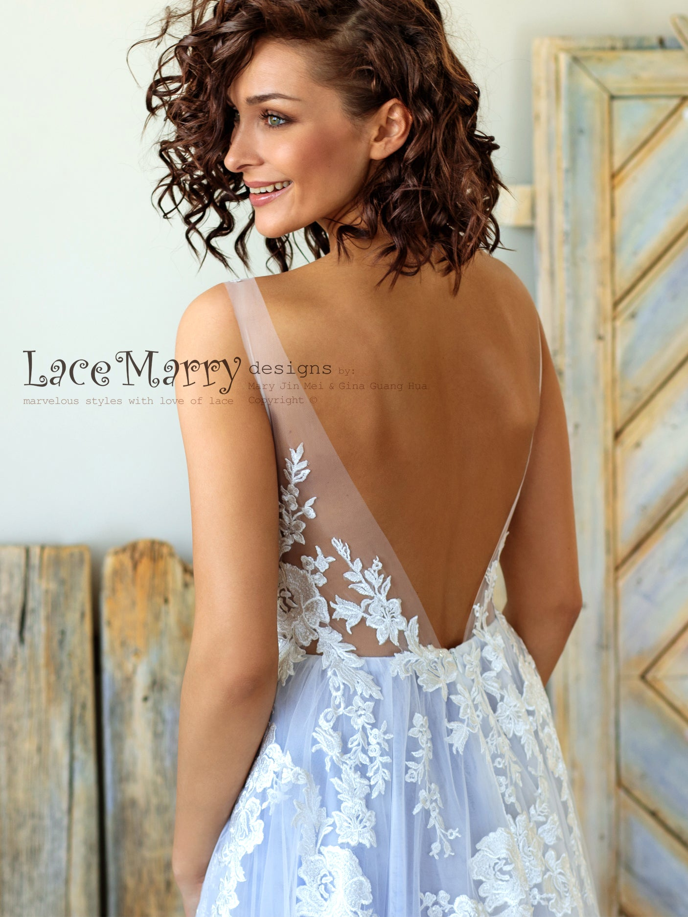 Gorgeous Light Lilac Wedding Dress with V Back
