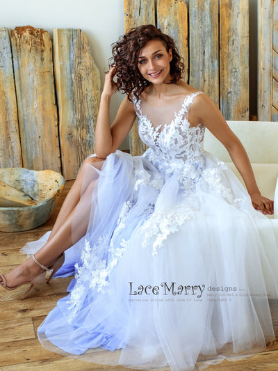Blue Wedding Dress with Airy Tulle Skirt