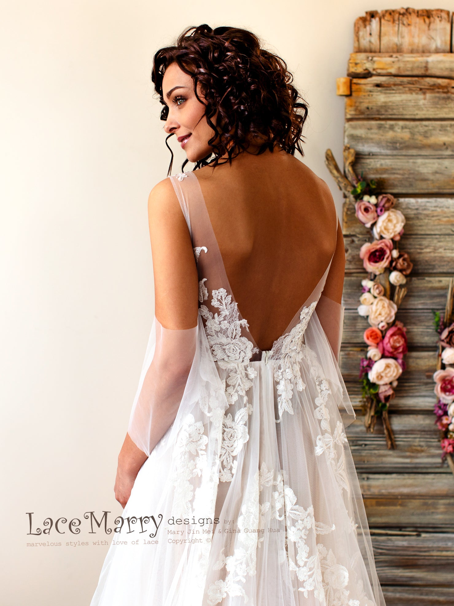 Boho Wedding Dress with V Back and Floral Lace