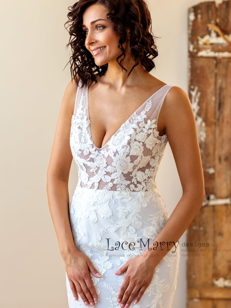 Illusion Boho Wedding Dress with Floral Lace Applique
