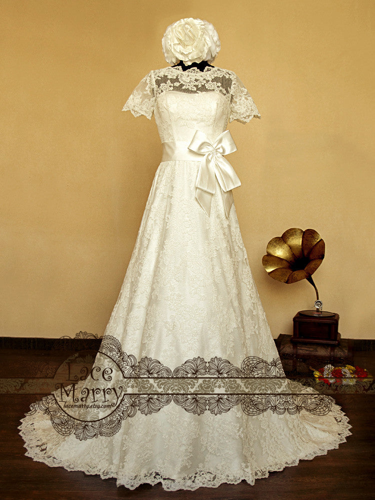 Short Sleeves Illusion Neckline Wedding Dress with Wide A Line Shape Skirt