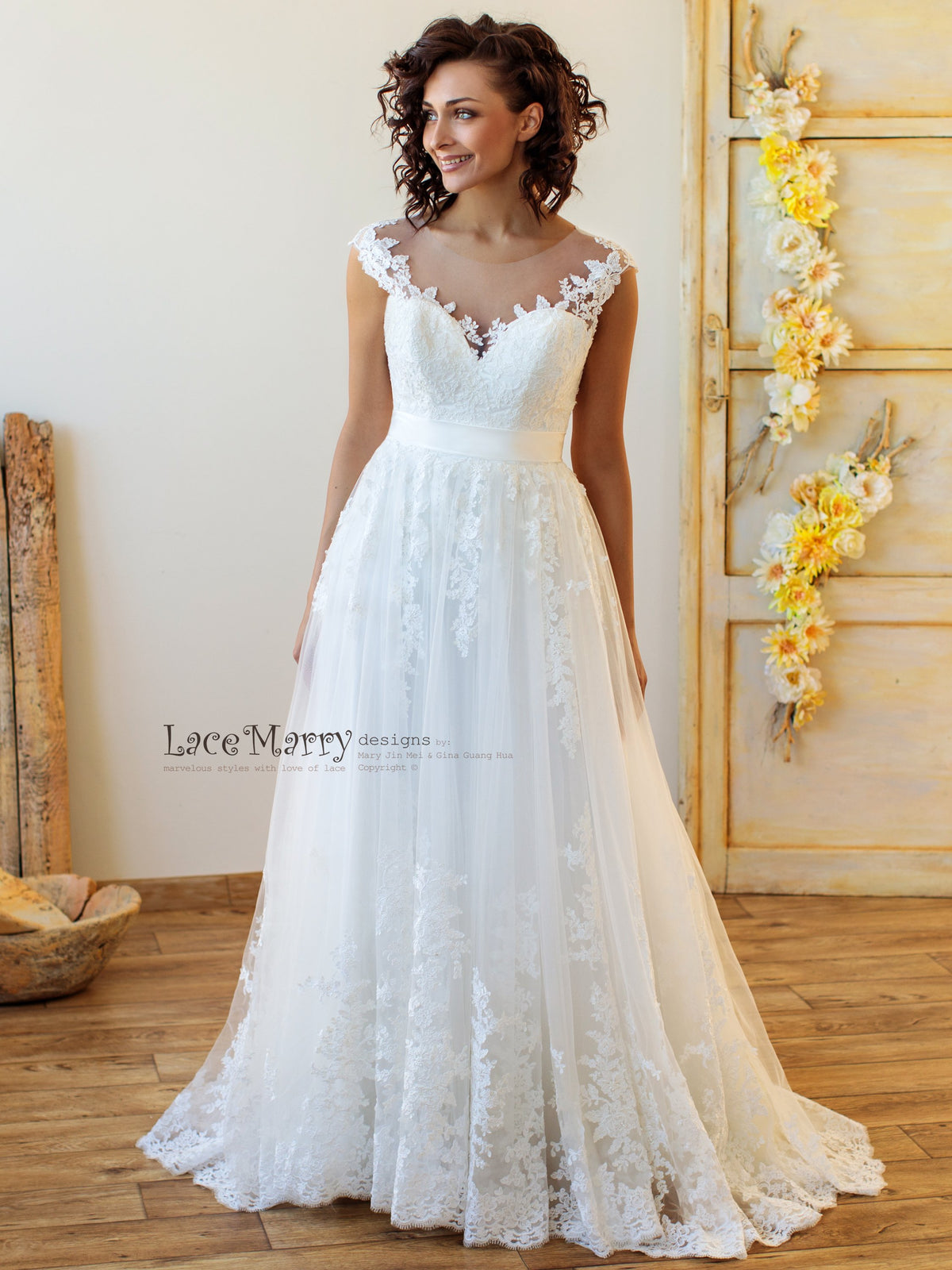 A Line Boho Wedding Dress with Lacy Skirt