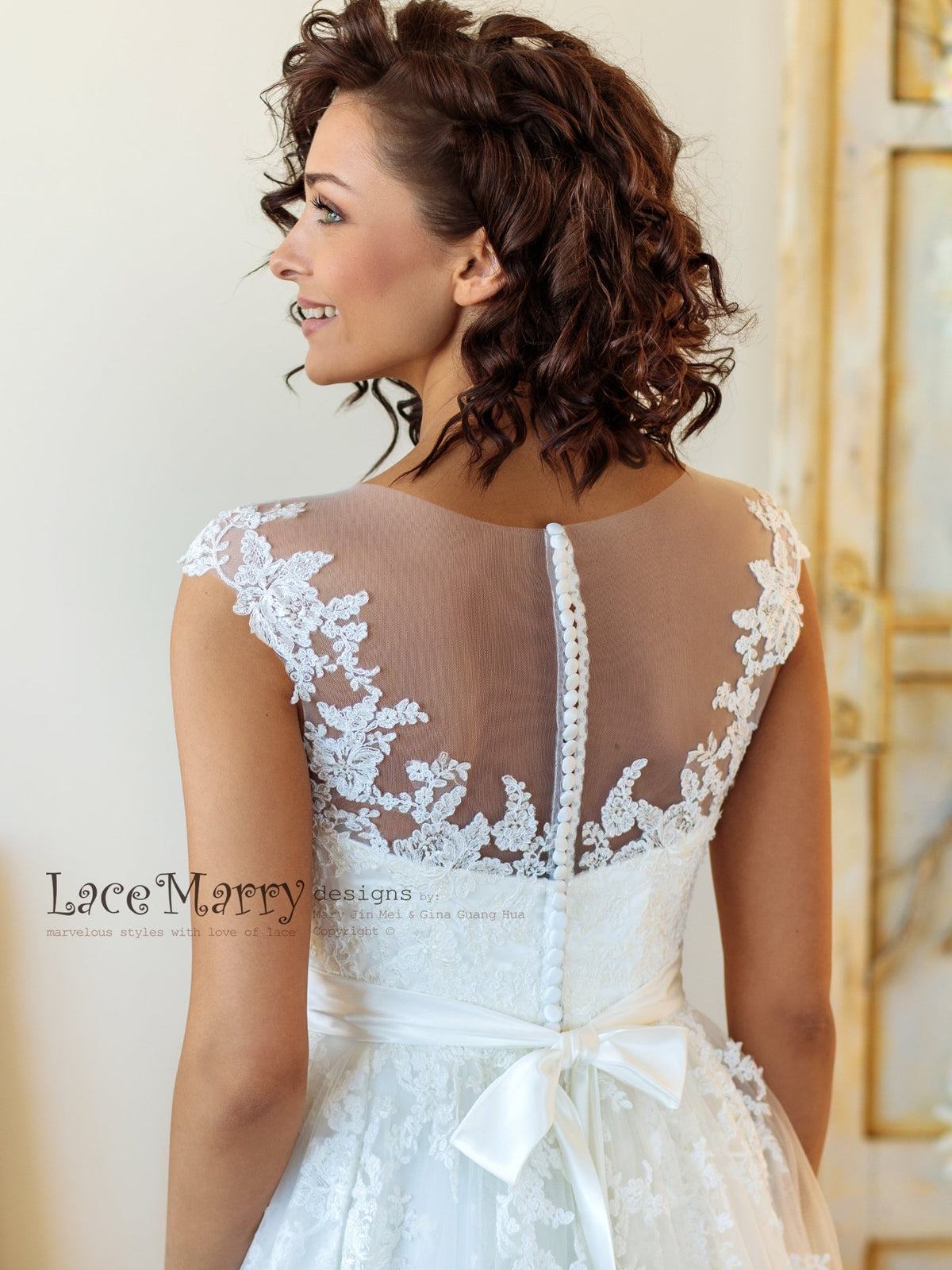 Illusion Wedding Dress with Button Closure