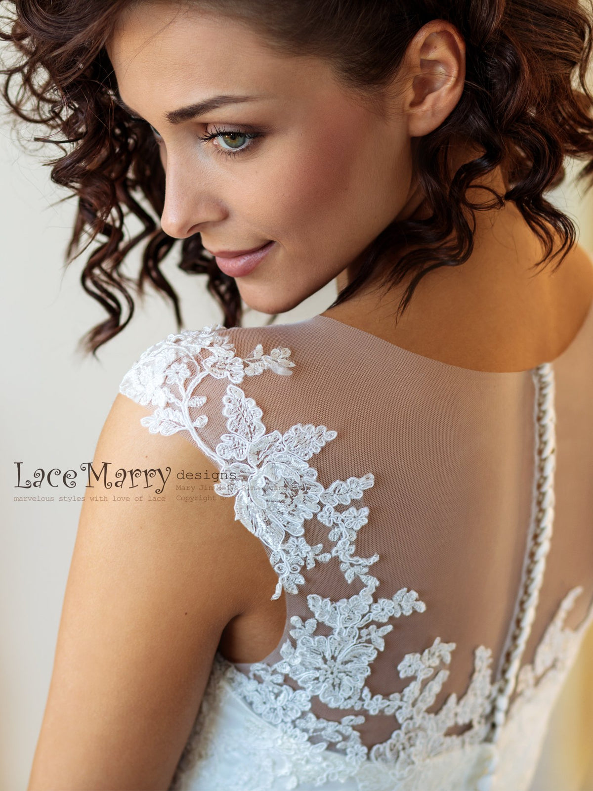 Lacy Shoulder Sleeves Wedding Dress