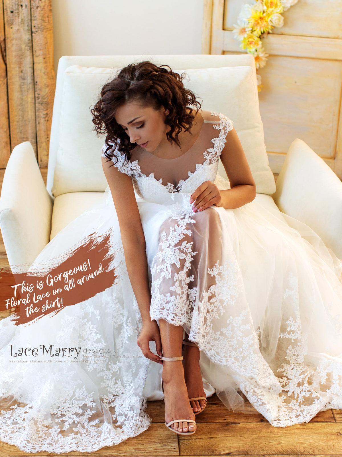 Lace Skirt Boho Wedding Dress