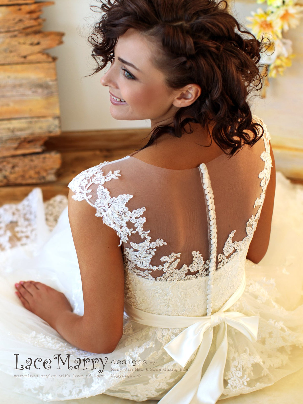 Illusion Back Wedding Dress with Buttons