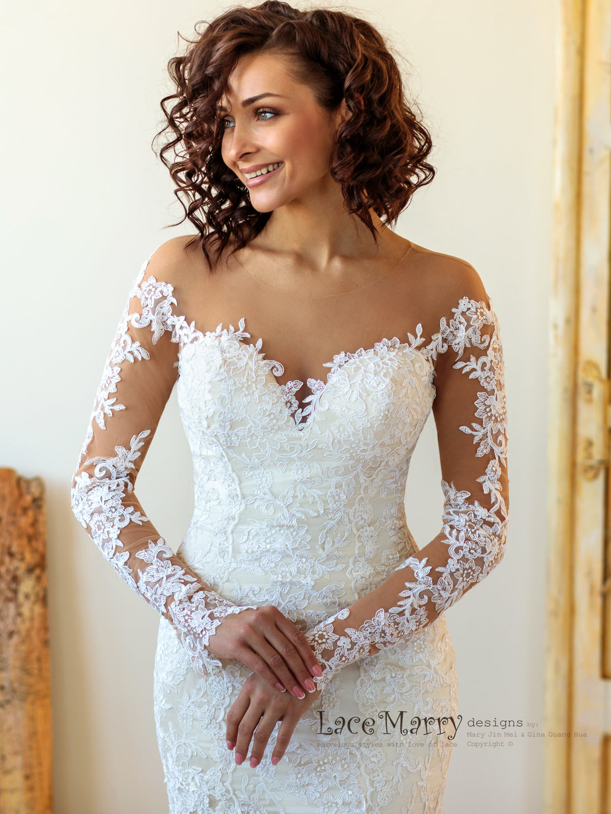 Fitted Wedding Dress with Long Lace Sleeves