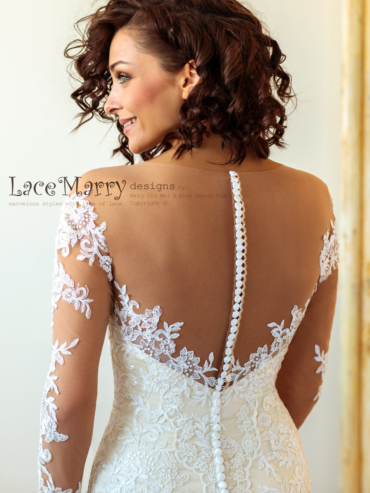 Gorgeous Illusion Back Wedding Dress with Long Sleeves