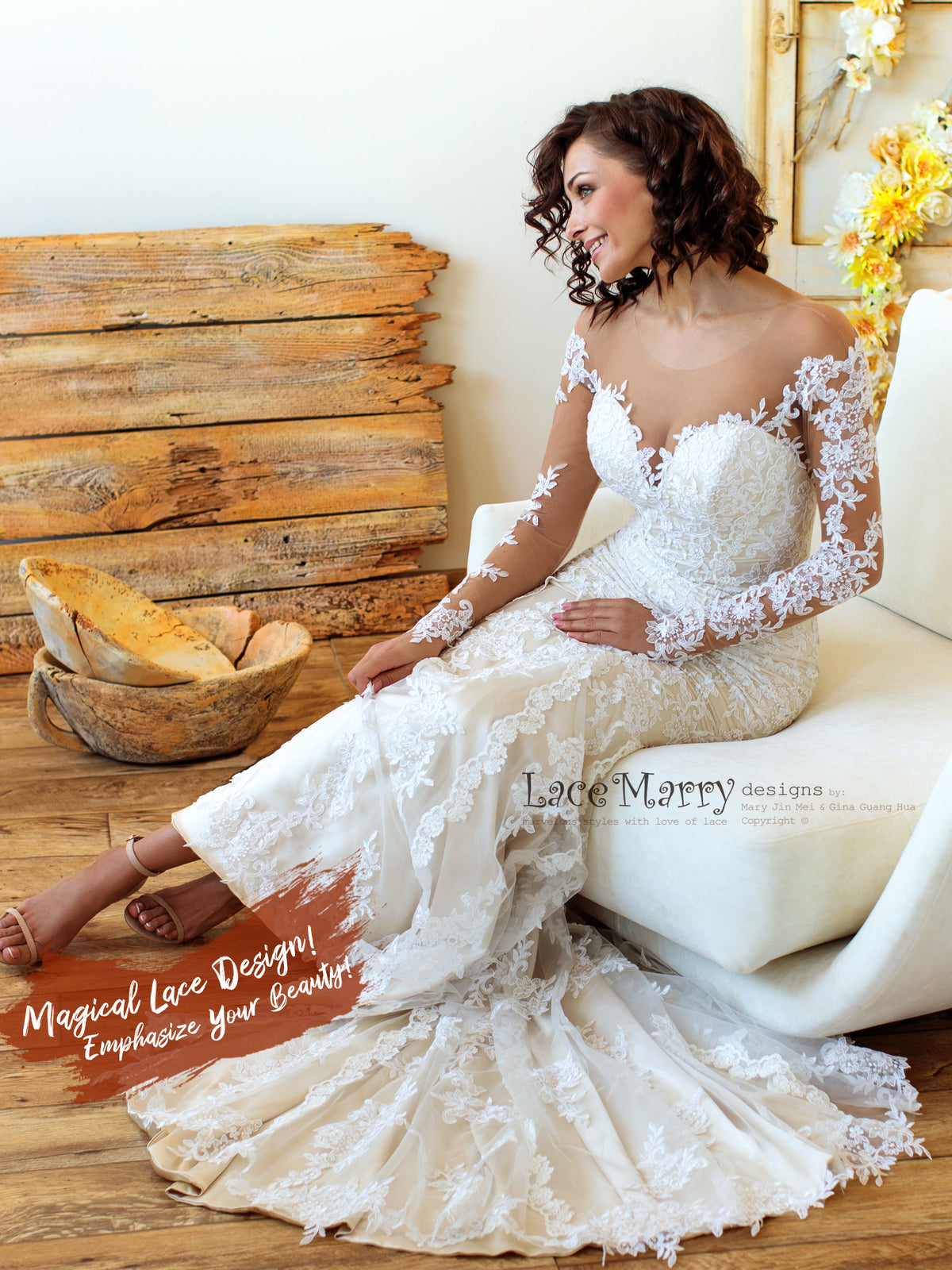 Elegant Wedding Dress with Off Shoulder and Long Sleeves