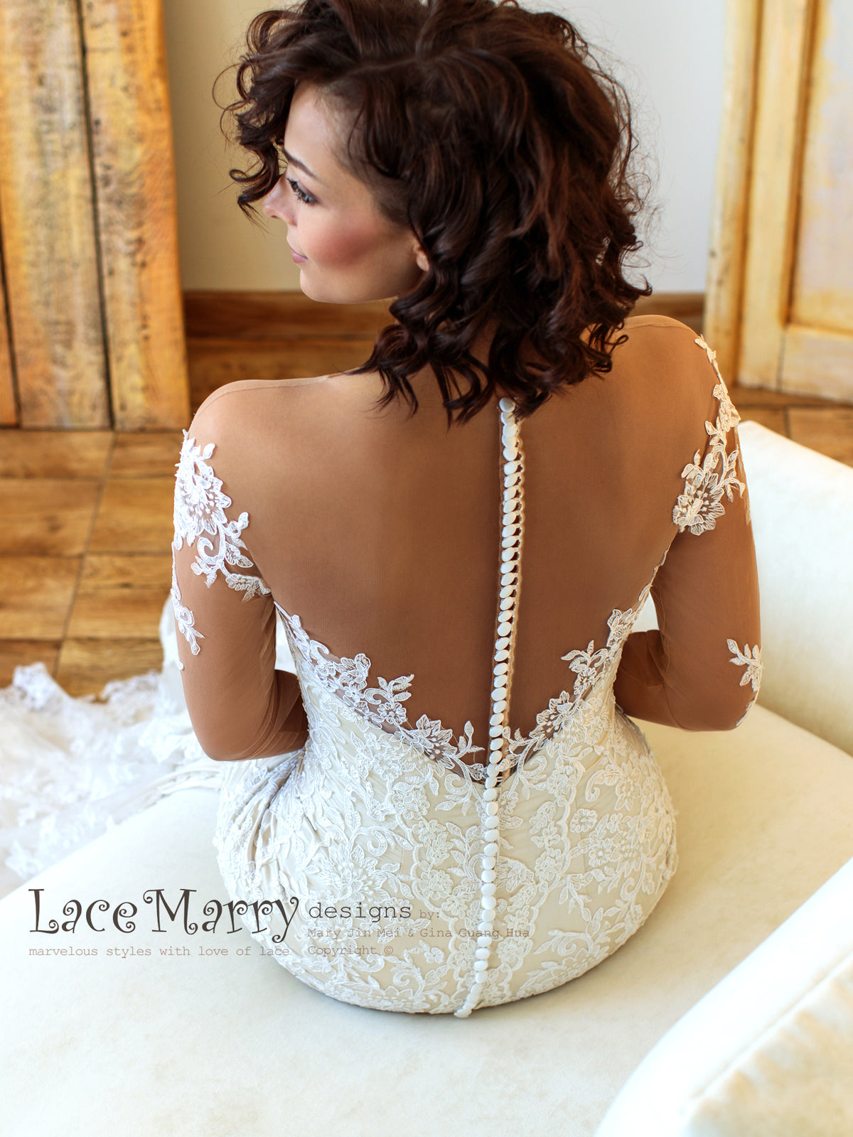 Illusion Back Wedding Dress with Tattoo Design Appliques
