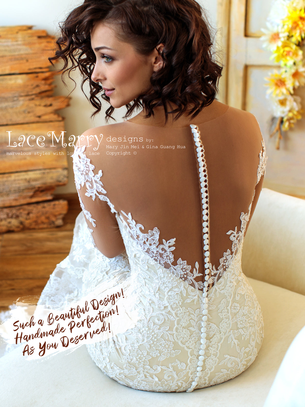 New Style Lace Wedding Dress with Buttons on the Back