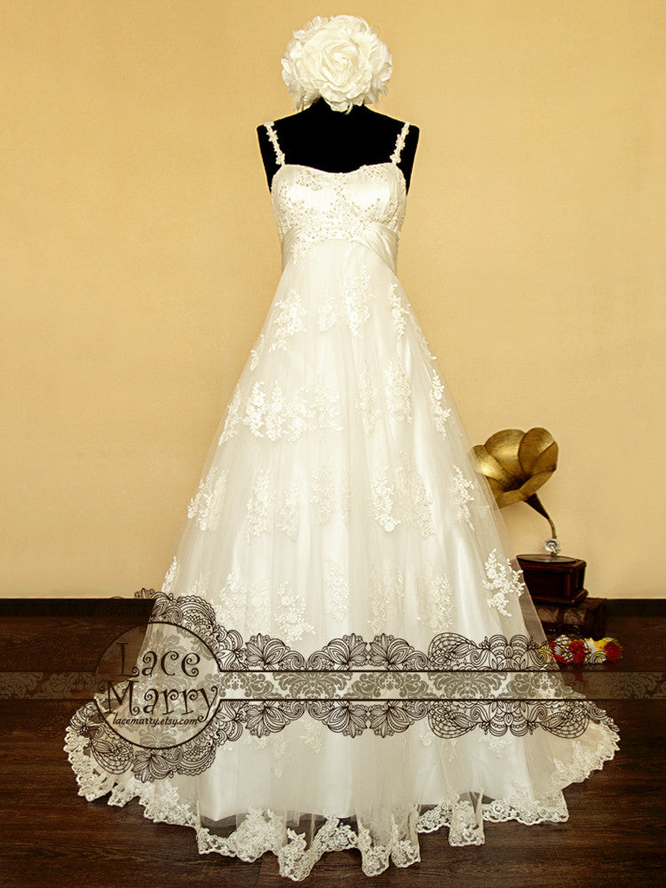 Gorgeous Lace Wedding Dress in Empire Style Waistline
