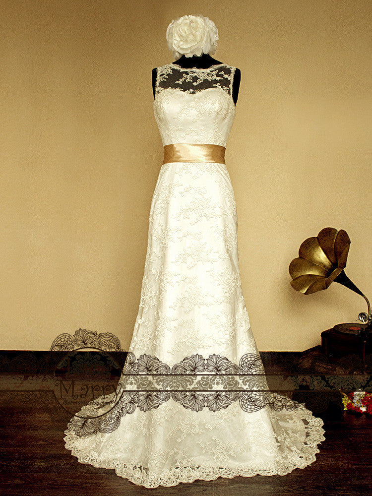 Handmade Lace Wedding Dress with Vintage Inspired Design