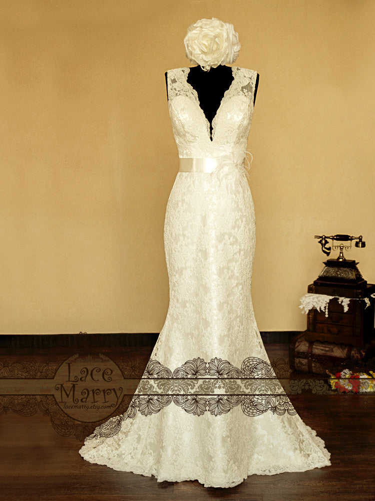 Deep V Neckline Lace Wedding Dress with Keyhole Open Back