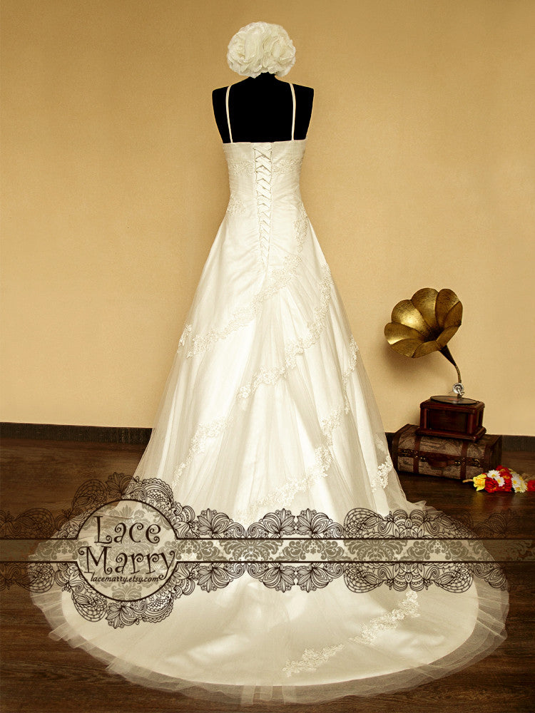 Flower Applique Wedding Dress with Lace up Back