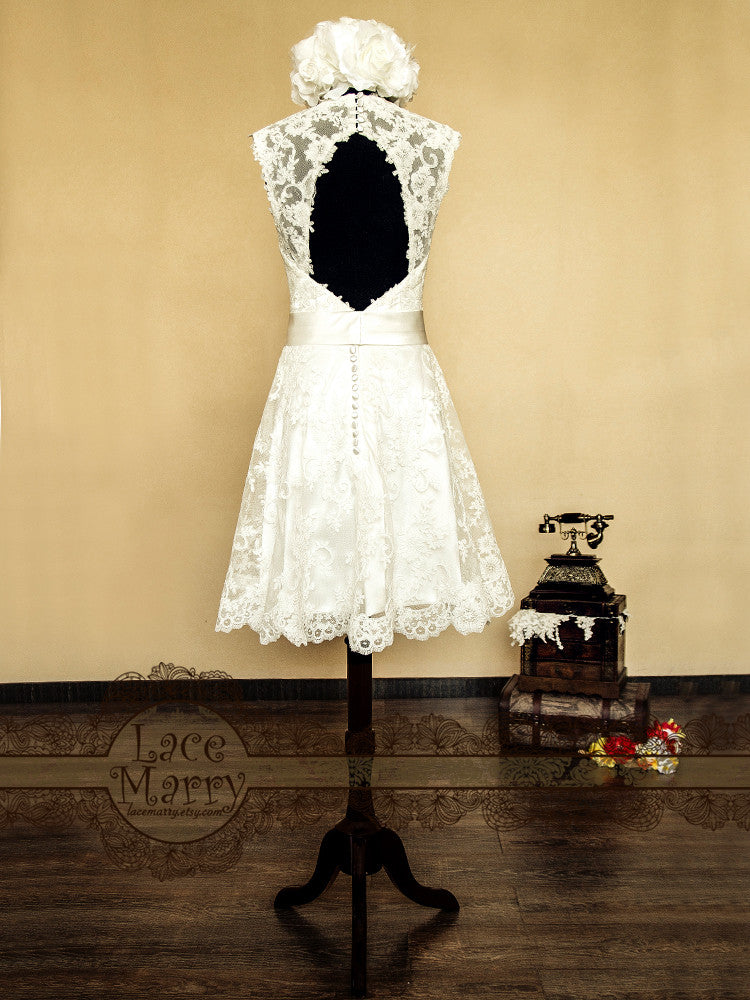 Keyhole Open Back Lace Wedding Dress Inspired 50s Style