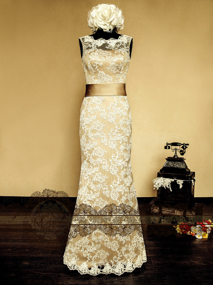 Vintage Style Champagne Lace Wedding Dress