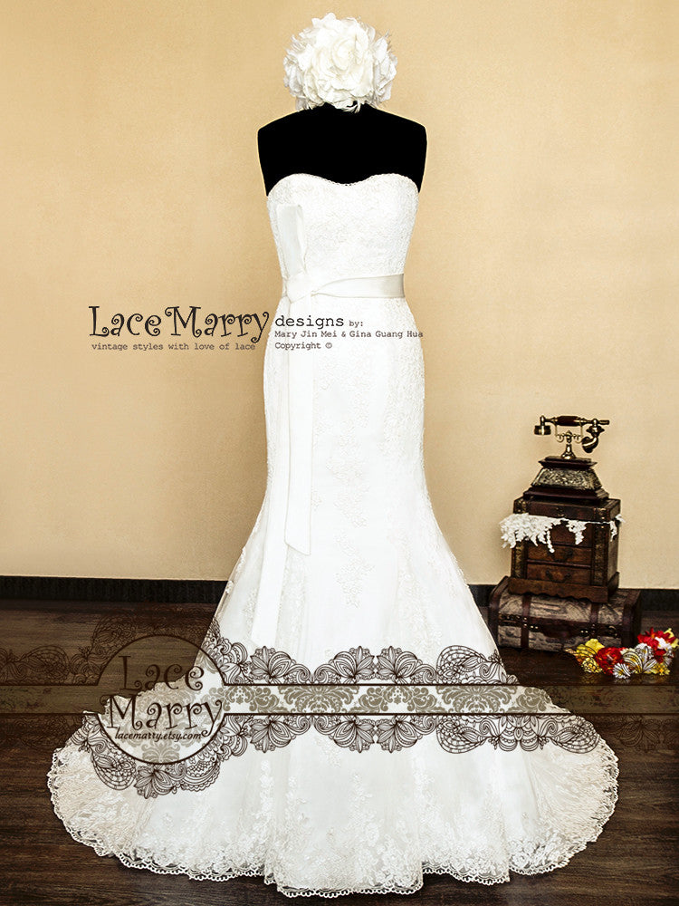 Slight Sweetheart Neckline Trumpet Style Lace Wedding Dress