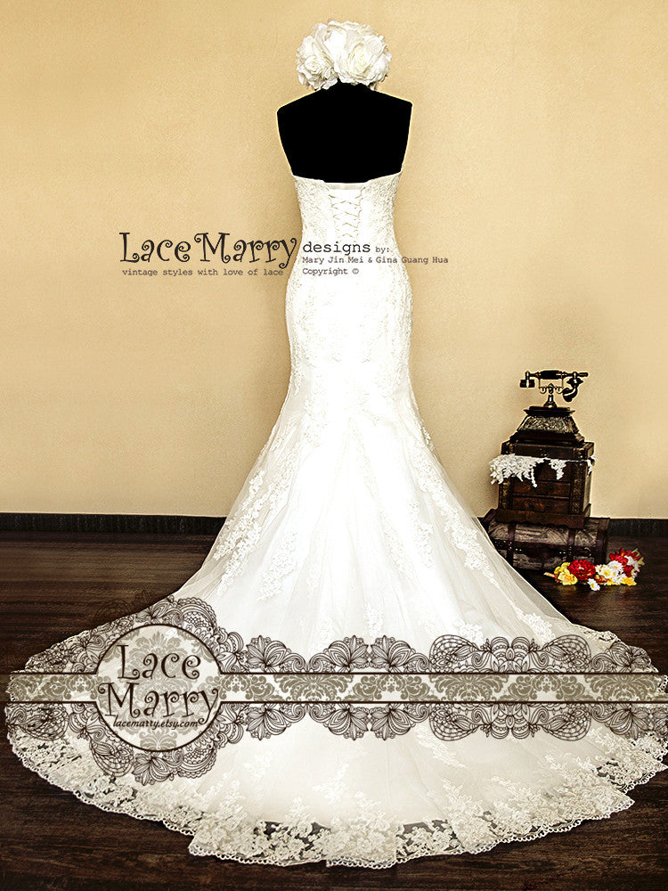 Trumpet Style Handmade Lace Wedding Dress