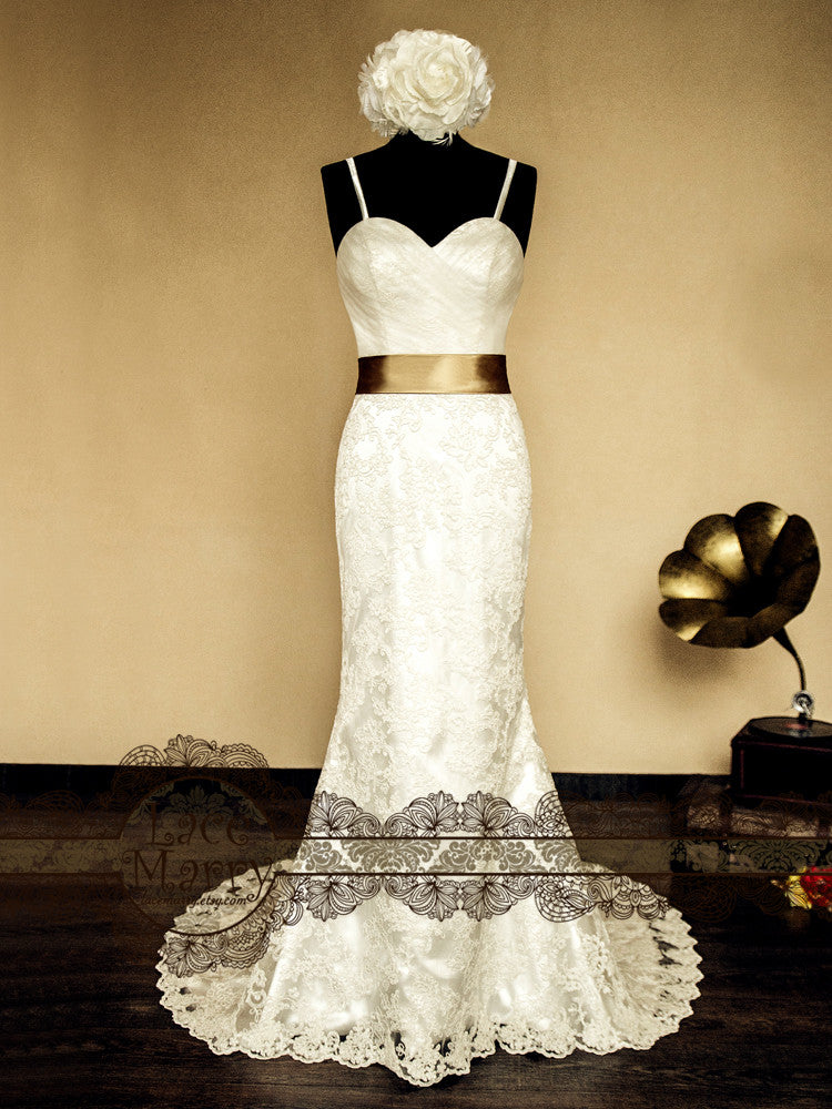Sweetheart Neckline Slim A Line Lace Wedding Dress