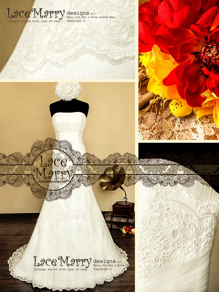 Fitted Hips Lace Applique Wedding Dress