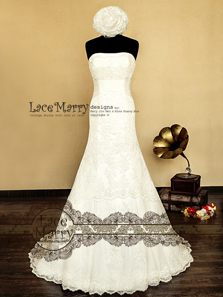 Strapless Trumpet Shape Lace Wedding Dress