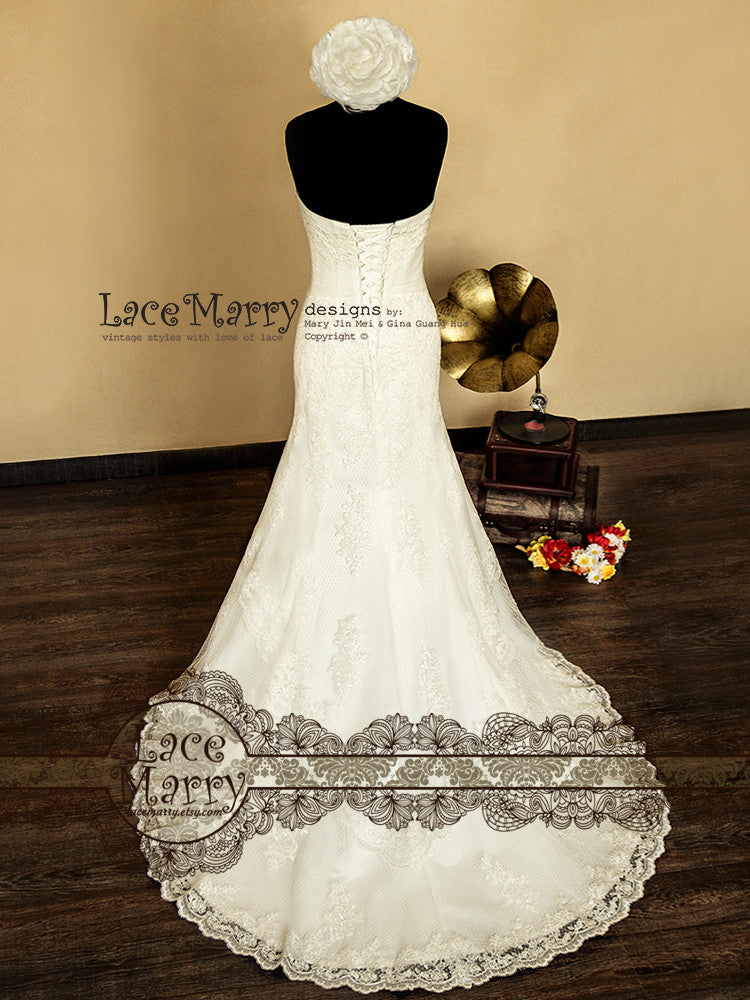Cathedral Length Train Strapless Lace Wedding Dress