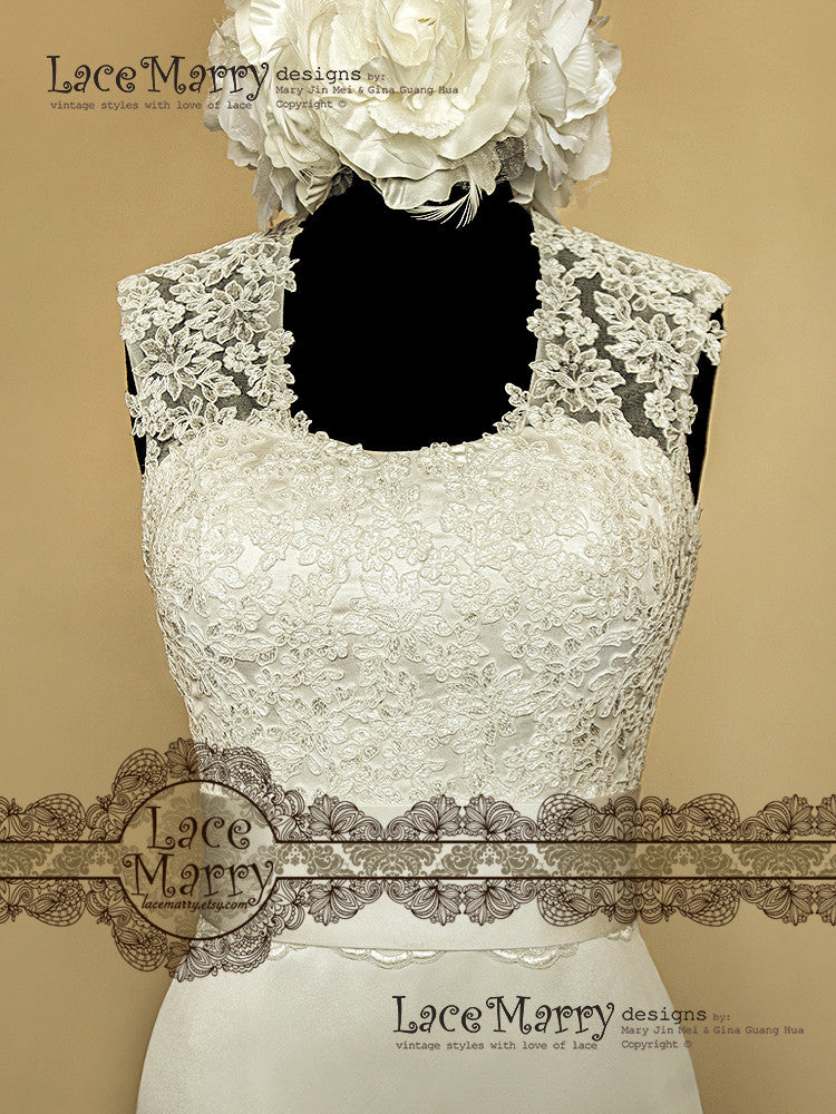 Oval Neckline Lace Wedding Dress with Keyhole Back