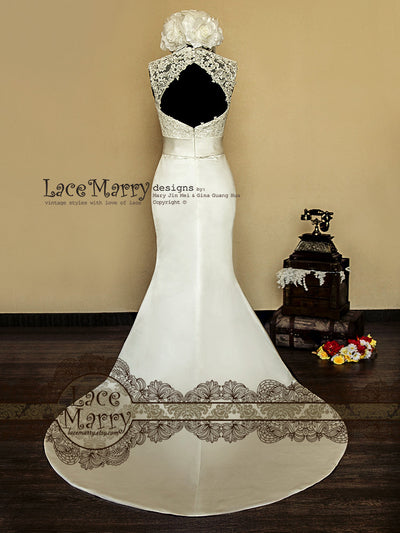 Satin Wedding Dress with Lace Top and Satin Sash