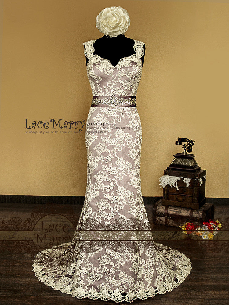 Purple Underlay Lace Wedding Dress