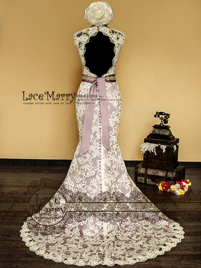 Trumpet Style Lace Wedding Dress with Beading Sash