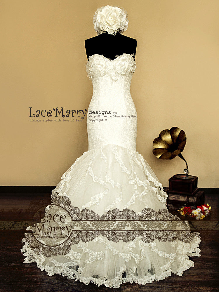 Strapless Mermaid Style Lace Wedding Dress