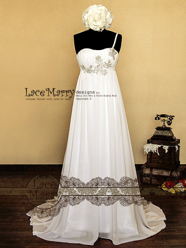 Chiffon Wedding Dress with Delicate Embroidery and Beading