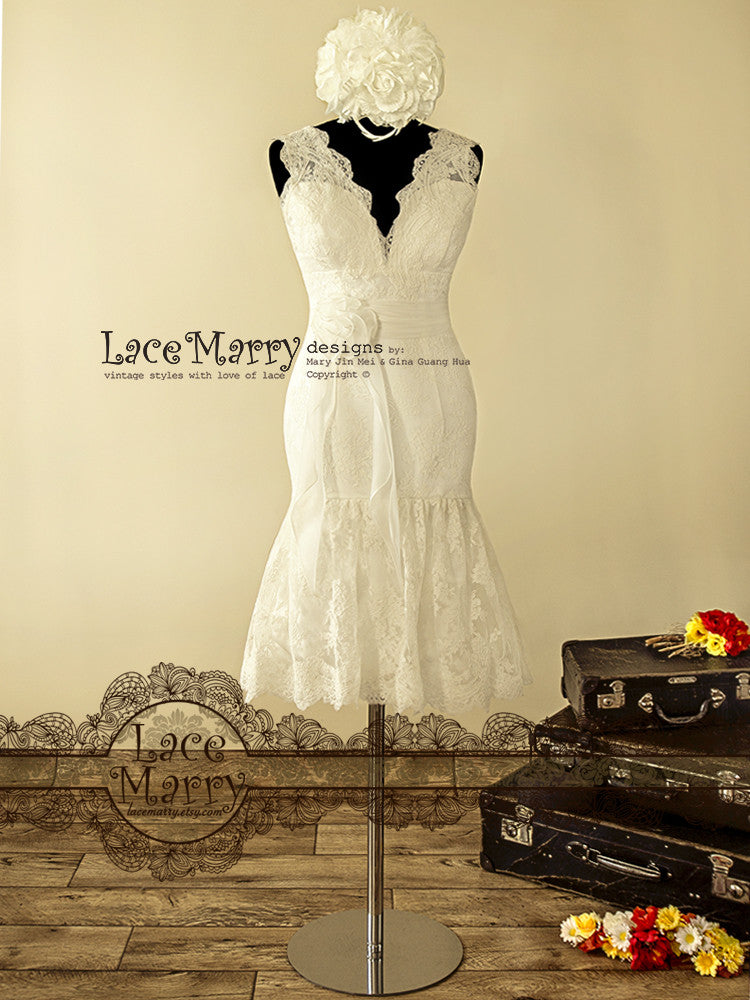 Short Lace Reception Dress