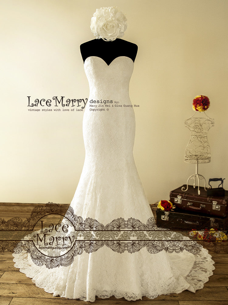 Double Layer Lace Wedding Dress in Trumpet Style - LaceMarry